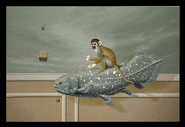 Cup Of Tea On Ear Grey - Squirrell Monkey on Coelacanth Fish by Linda Herzog