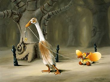 Duck Walk - Indian Runner Duck and antique toy duck by Linda Herzog