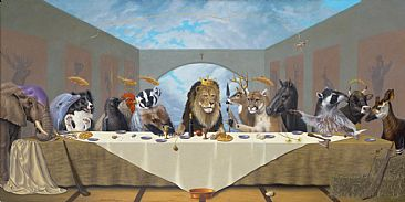 Last Supper - Last Supper, Apostles, deciples, elephant, dolphin, border collie, crow, plymouth Rock Rooster, badger, lion, deer, cougar, mountain lion, horse, greek horse, Andravida horse, raccoon, bull, okapi, King of the jungle, King of the jews, King of kings,  by Linda Herzog