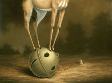 Lincoln Upon His Favored Bell - detail bottom - Gerenuk Antilope, Plain Tiger Butterfly, brass bells by Linda Herzog