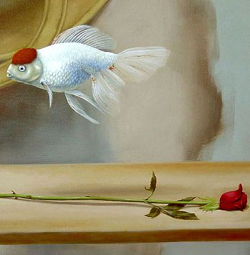 Red Cap Oranda fancy Goldfish and red rose - Painting Art by