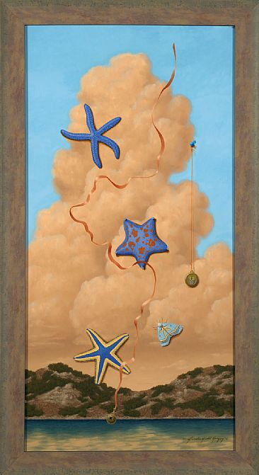 Stars In The Sky - Starfish, orange cloud, coast, blue starfish, royal starfish,bat starfish, airforce pin, bell by Linda Herzog