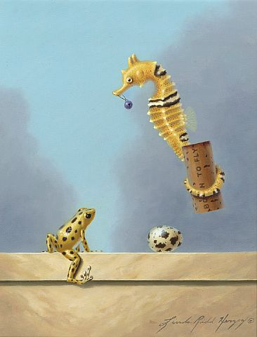 Purple Bell - yellow seahorse, seahorse, purple bell, quail egg, egg, yellow strawbery dart frog, dart frog, frog by Linda Herzog