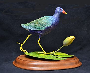 Purple Gallinule - Wood Sculpture by Uta Strelive