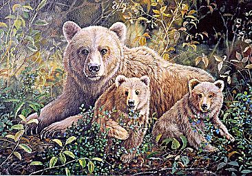 Grizzly Bear and Cubs -  by Michelle Mara