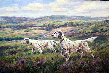 Setters On Scent - English Setters by Peggy Watkins