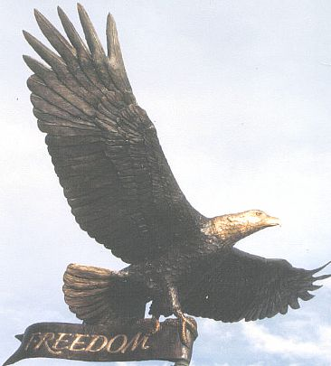 Freedom Eagle - bronze lifesize eagle with seven foot wing span by James Marsico