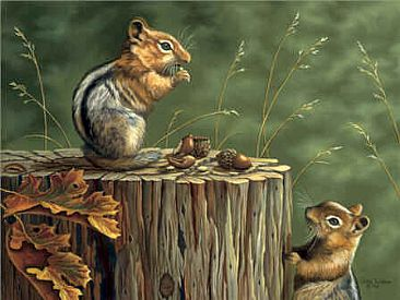 Sneak Attack - Golden Mantel Squirrels by Patti Wilson