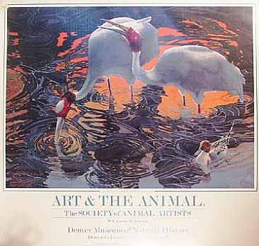 Art & The Animal National Tour Poster 1990/91 - Birds: Sarus Cranes at Dawn in Keoladeo National Park, India by David Rankin