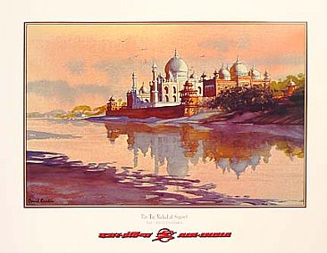 Taj Mahal / Air India Print 1996 - The Taj Mahal viewed from the Red Fort in late afternoon light. by David Rankin
