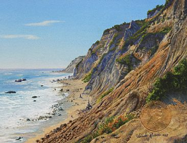 The Bluffs, Block Island - Landscape by Linda Rossin