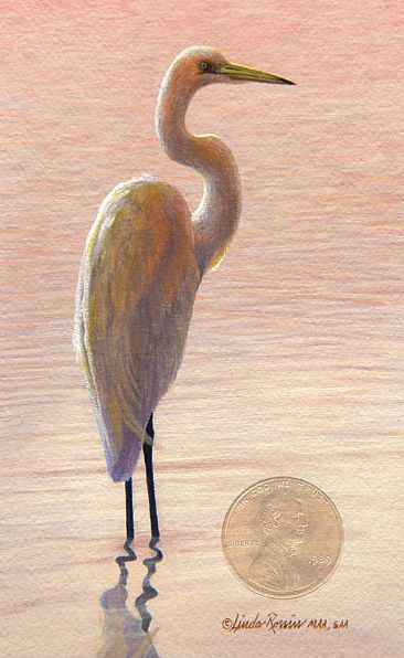Tranquility / Miniature - Great Egret by Linda Rossin