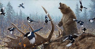 Grizzly Encounter II - Grizzly Bear and Moose  by John Banovich