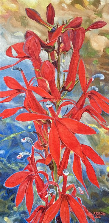 Cardinalflower in Shade - Botanical by Aleta Karstad