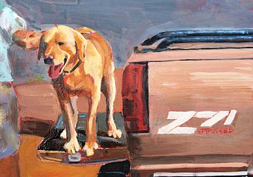 Tailgate Dog - Dog and Pick-up by Nancy Darling