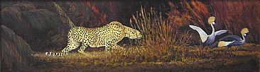African Baroque - Cheetah & Crested Crane by Mel Dobson