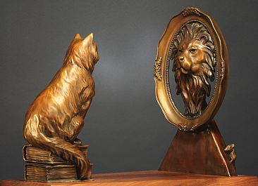 ''DARE TO DREAM BIG'' - Cat looking in mirror and see himself as a lion. by Chris Navarro