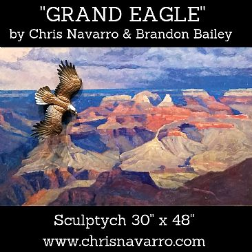 GRAND EAGLE - Eagle flying through Grand Canyon  by Chris Navarro