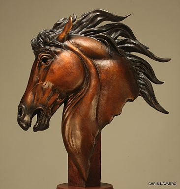 ''CABALO DEL SOL ''   horse of the sun  - Horse bust  by Chris Navarro