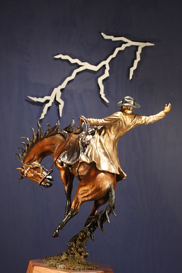 LIGHTNING IN THE SKY  THUNDER IN THE REIN  - Cowboy riding bucking horse by Chris Navarro