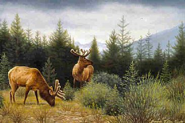 Thunder in the Distance  - Elk by Jeanne Filler Scott