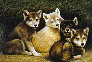 Wolf Puppies Painting Art By Jeanne Filler Scott