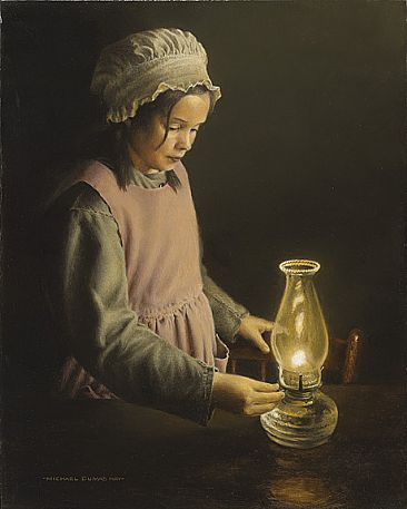 The Welcome Light - Young Girl & Lantern by Michael Dumas
