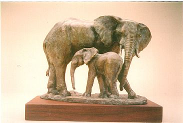 A Close Bond - African elephant - cow and calf by Dorcas MacClintock