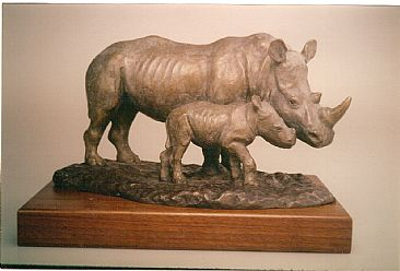 Mkombe - White Rhino - cow and calf by Dorcas MacClintock