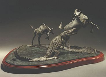 The Crossing - Wildebeast and Crocodile by Terry Mathews