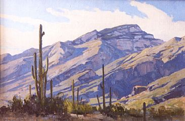 Bear Canyon Blues - Saguaro cactus and the Catalina Mountains by Gregory McHuron