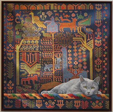 Carpet Cat  - Rug wall-hanging with cat by ... & Rug wall-hanging with cat - Painting Art by J. Sharkey Thomas