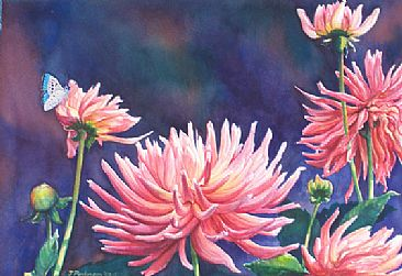 Charles' Dahlias - Dahlias, Common Blue butterfly by Linda Parkinson