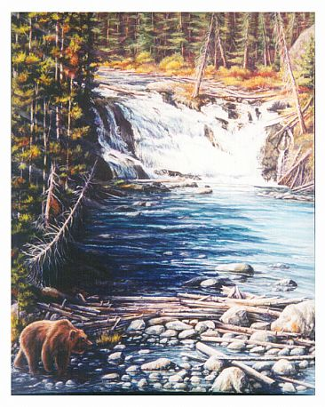 Forces of Nature - Lewis Falls, Yellowstone National Park, Grizzily Bear by Linda Parkinson