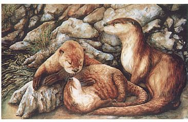 Under Mama's Watchful Eyes - River Otters by Linda Parkinson