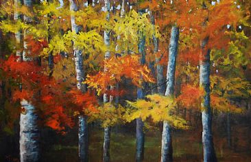Nature's Tapestry - Landscape of fall foliage by Betsy Popp