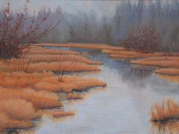 Quiet Waters - Landscape, Riverscape by Betsy Popp