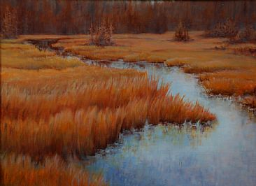 Fall Marsh - Landscape, Mash by Betsy Popp