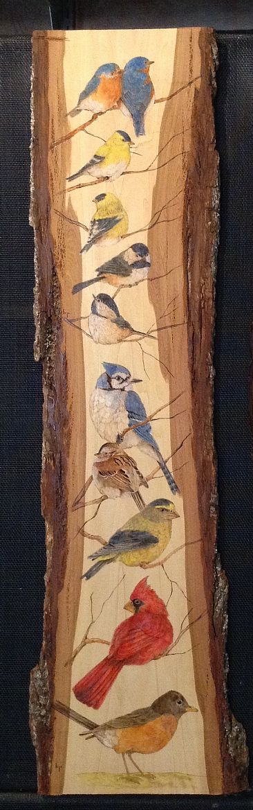 Feeder Favorites - SOLD - Variety of song birds by Betsy Popp