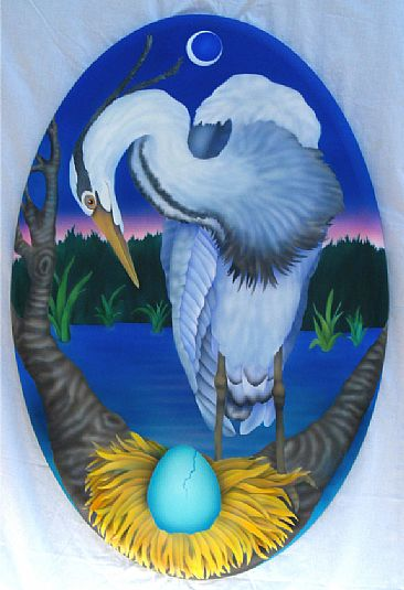 The Promise - Heron and hatching egg by Marcia Perry