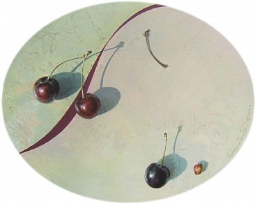 Four Cherries I Ate - Still life with Cherries by Andrew Denman