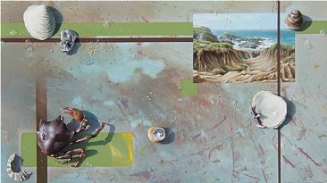 Oceana III - Still life with Crab, shells, Bodega Head landscape by Andrew Denman