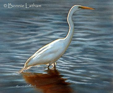 Serenade of Light - Great Egret by Bonnie Latham
