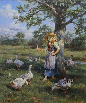 Girl with geese - Geese by Sergio Budicin