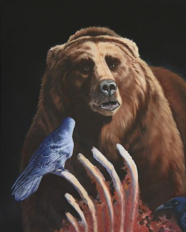 Raven vs Goliath - Grizzly Bear by Kitty Whitehouse