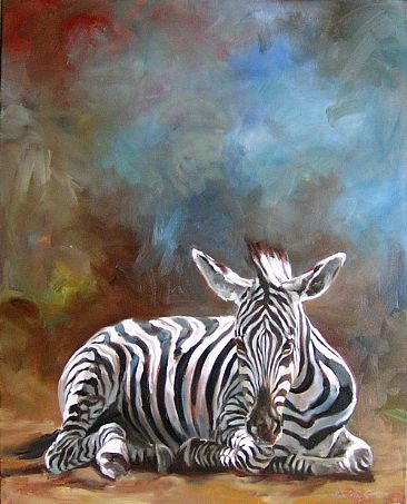 Snoozing in the Sun - Zebra by Kindrie Grove