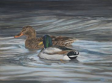 December Solstice - mallards on a winter lake by Debbie Hughbanks