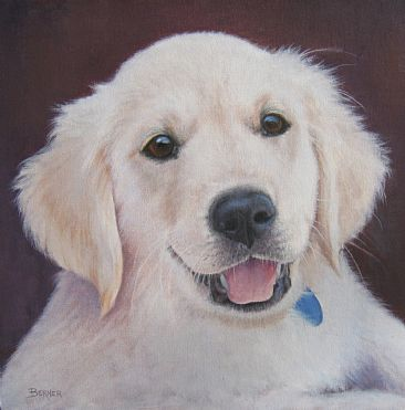 Pick Me - Golden Retriever Puppy by Sally Berner