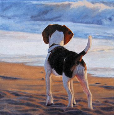 First Time at the Dog Beach SOLD - Beagle puppy - at Society of Animal Artists exhibit  by Sally Berner