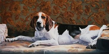 Sanctuary Hound II - Print - Reclining Hound  by Sally Berner